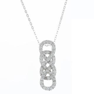La Preciosa Sterling Silver Cubic Zirconia Double Infinity Necklace