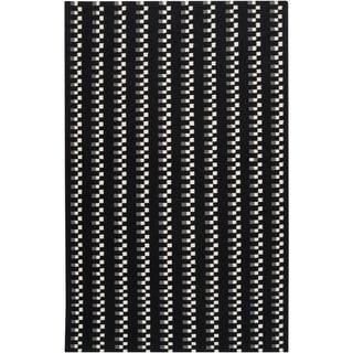 Handwoven Nanaimo Black Wool Rug (9' x 13')