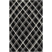 Hand-woven Kimberley Black Wool Area Rug - 8' x 11'