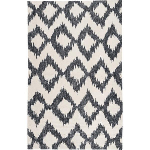 Hand-woven Rossland Black Wool Area Rug - 5' x 8'