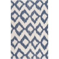 Hand-woven Penticton Blue Wool Area Rug - 5' x 8'