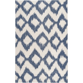 Hand-woven Nelson Blue Wool Rug (2' x 3')