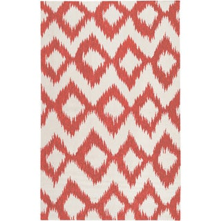 Hand-woven Quesnel Red Wool Rug (8' x 11')