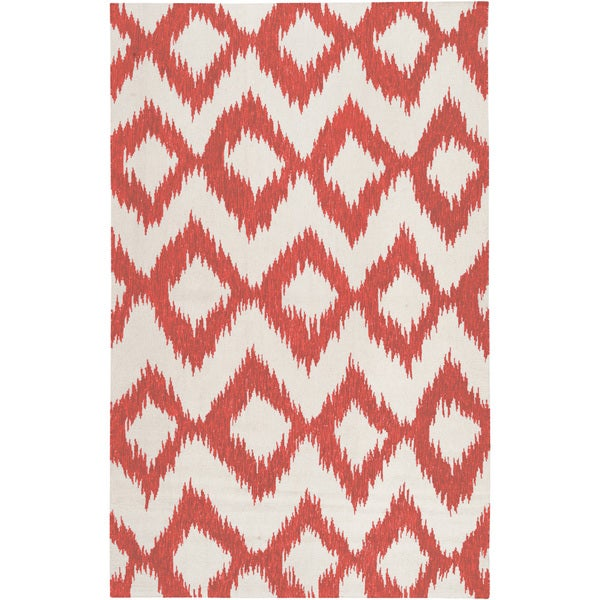 Hand-woven Quesnel Red Wool Area Rug - 8' x 11'
