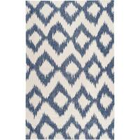 Hand-woven Penticton Blue Wool Area Rug (8' x 11')