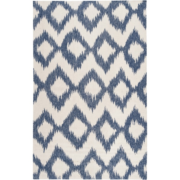 Hand-woven Penticton Blue Wool Area Rug - 8' x 11'