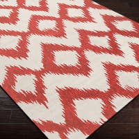 Hand-woven Quesnel Red Wool Area Rug - 5' x 8'