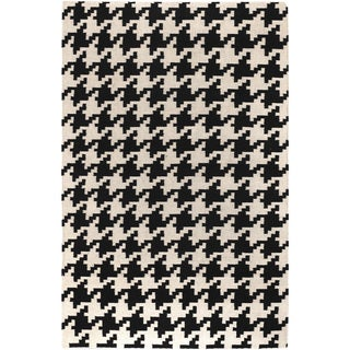 Handwoven Terrace Black Wool Rug (2' x 3')