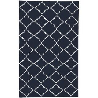 Handwoven Winkler Blue Wool Rug (2' x 3')