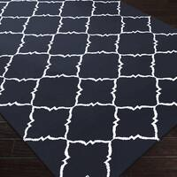 Hand-woven Winkler Blue Wool Area Rug - 5' x 8'