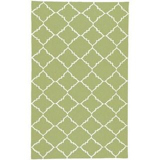 Hand-woven Winnipeg Green Wool Rug (3'6 x 5'6)