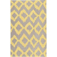 Hand-woven Fame Yellow Wool Area Rug - 8' x 11'