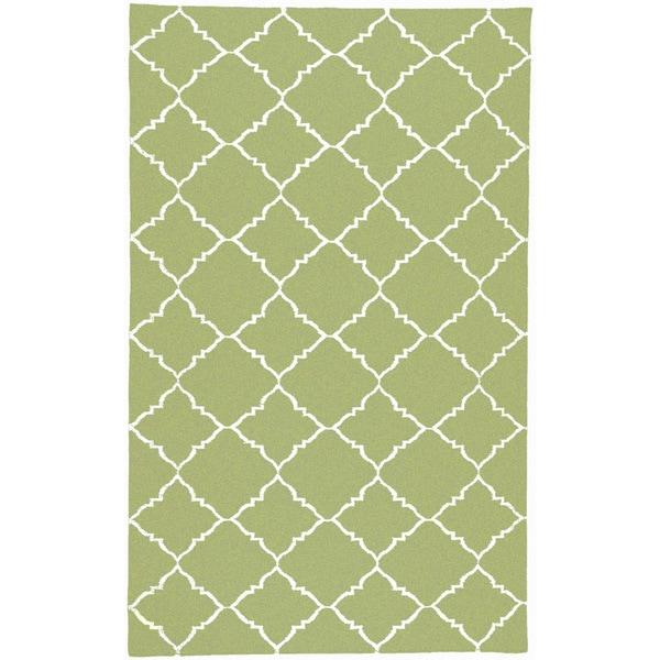 Hand-woven Winnipeg Green Wool Area Rug - 9' x 13'