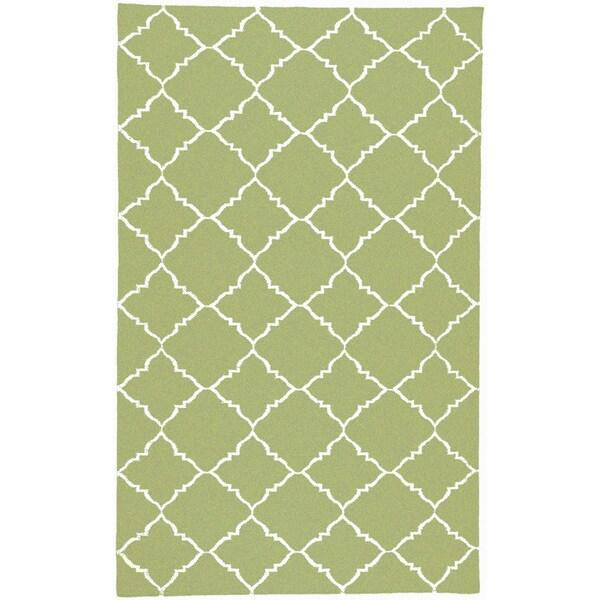 Hand Woven Winnipeg Green Wool Area Rug 8 X 11