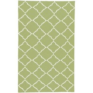 Handwoven Winnipeg Green Wool Rug (8' x 11')