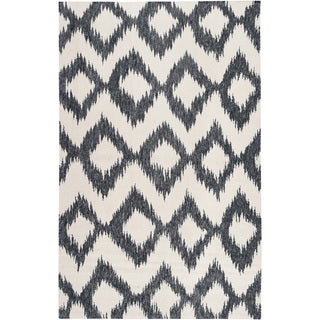 Hand-woven Rossland Black Wool Rug (9' x 13')