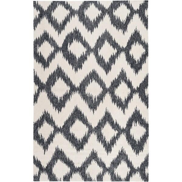 Hand-woven Rossland Black Wool Area Rug - 9' x 13'