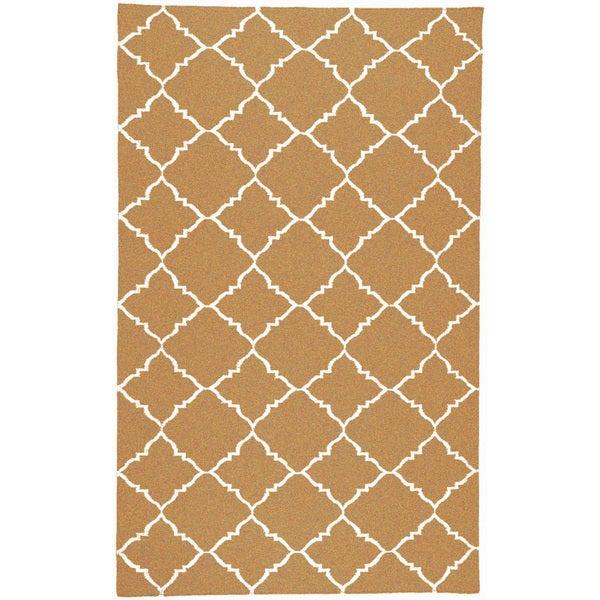 Hand-woven Miramichi Yellow Wool Rug (5' x 8')