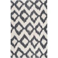 Hand-woven Rossland Black Wool Area Rug - 3'6 x 5'6