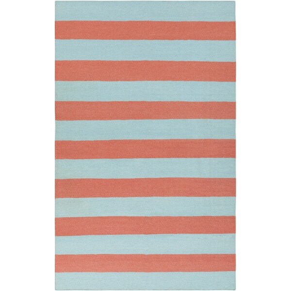 Hand-woven BeachyStripe Sky Blue Wool Area Rug - 9' x 13'