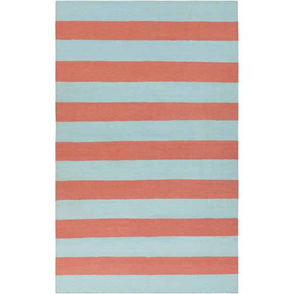 Hand-woven Beachy Stripe Sky Blue Wool Rug (5' x 8')