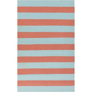 Hand-woven Beachy Stripe Sky Blue Wool Rug (5' x 8')