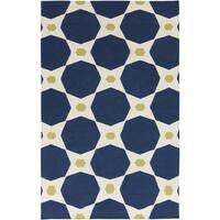 Hand-woven Navy Octo Midnight Blue Wool Area Rug (2' x 3')