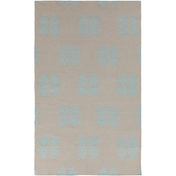 Hand-woven Stencil Grey Blue Wool Area Rug (2' x 3') - 2' x 3'