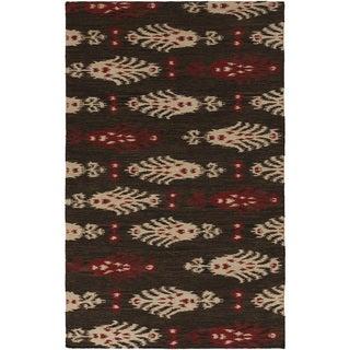 Hand-woven Java Ikat Espresso Wool Area Rug - 36 x 56 (36 x 56 - Brown/Beige)
