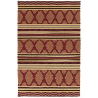 Hand-woven Ruby Geo Mix Redwood Wool Rug (2' x 3')
