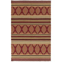 Hand-woven Ruby Geo Mix Redwood Wool Area Rug - 2' x 3'