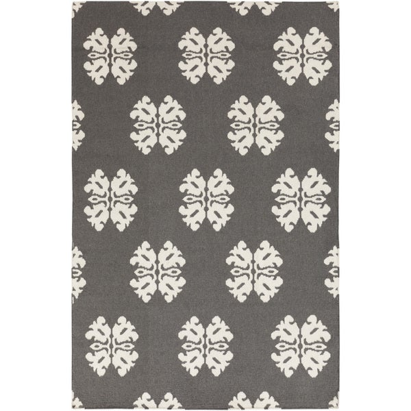 Hand-woven Stencil Dove Pewter Wool Area Rug - 8' x 11'
