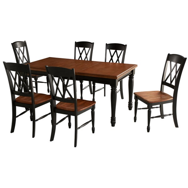 Monarch Rectangular Dining Table and Six Double X-back Chairs Set by Home Styles