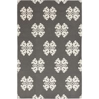 Hand-woven Stencil Dove Pewter Wool Area Rug - 5' x 8'