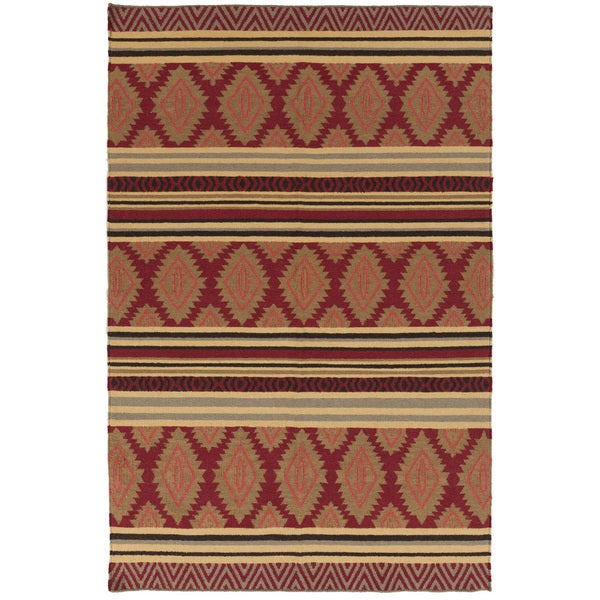 Hand-woven Ruby Geo Mix Redwood Wool Rug (9' x 13')