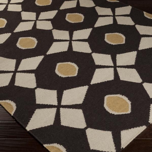 Shop Hand Woven Espresso Neutral Octo Wool Area Rug 5 X