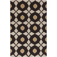 Hand-woven Neutral Octo Espresso Wool Area Rug (9' x 13') - 9' x 13'