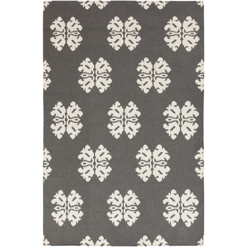 Hand-woven Stencil Dove Pewter Wool Rug (2' x 3'), Grey, ...