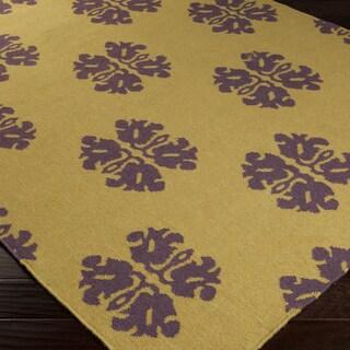 Hand-woven Stencil Gold Golden Yellow Wool Rug (5' x 8')