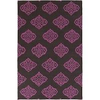 Hand-woven Stencil Raspberry Wool Area Rug - 2' x 3'