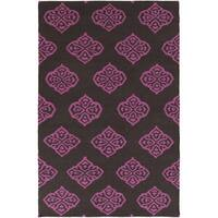 Hand-woven Stencil Berry Raspberry Wool Area Rug - 3'6 x 5'6