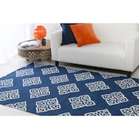Hand-woven Almere Blue Wool Area Rug - 8' x 11'
