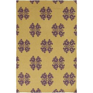 Hand-woven Stencil Gold Golden Yellow Wool Rug (9' x 13')