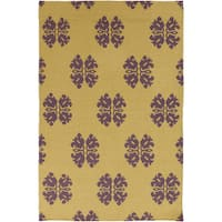 Hand-woven Stencil Gold Golden Yellow Wool Area Rug - 9' x 13'