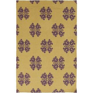 Hand-woven Stencil Gold Golden Yellow Wool Rug (2' x 3')