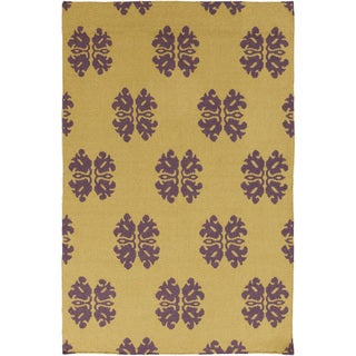 Hand-woven Stencil Gold Golden Yellow Wool Area Rug - 2' x 3'