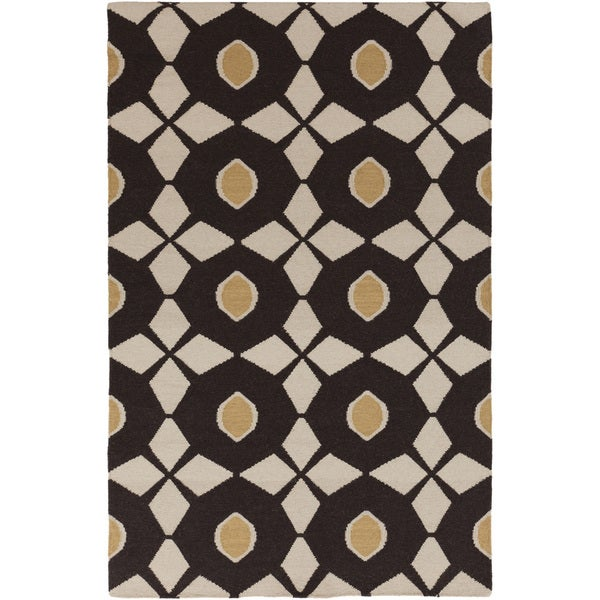 Hand-woven Neutral Octo Espresso Wool Rug (2' x 3')