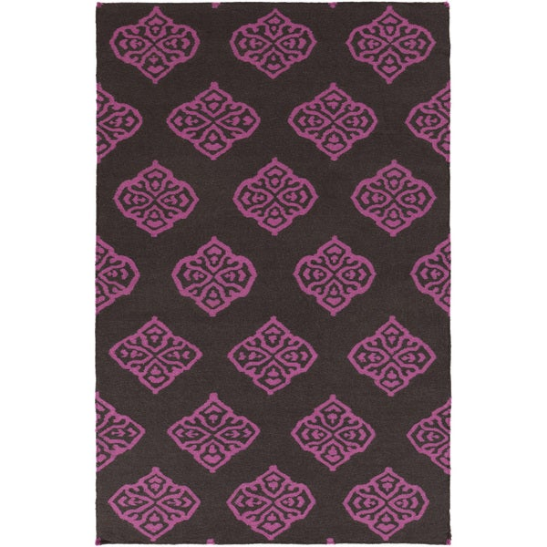 Hand-woven Stencil Berry Raspberry Wool Area Rug - 5' x 8'