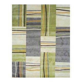 Herat Oriental Indo Hand-tufted Beige/ Green Tibetan Wool Rug (8' x 10')