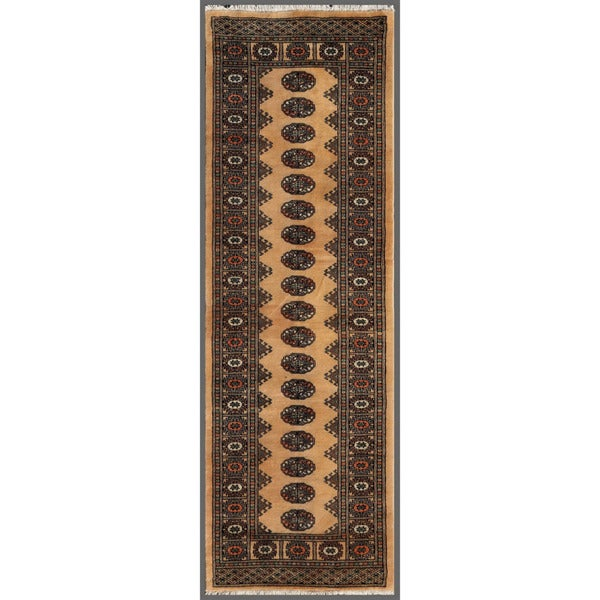 Pakistani Hand-knotted Bokhara Beige/ Black Wool Rug (2'8 x 8'2)
